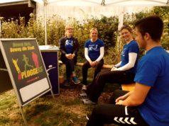 Paula Stausberg, Tordis Bindzau, Daniela Hannemann und Philip Ley von der Remscheider Sportjugend informierten aktiv und passiv übers Ploggen und die Bewegung #PLOGGERS. Foto: Sascha von Gerishem
