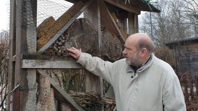 Jörg Liesendahl am Insektenhotel der Natur-Schule Grund. | Foto: Sascha von Gerishem