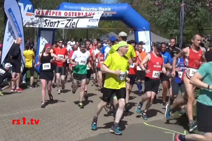 Start zum Lenneper Osterlauf. | Screenshot: rs1.tv / Frank Wappler