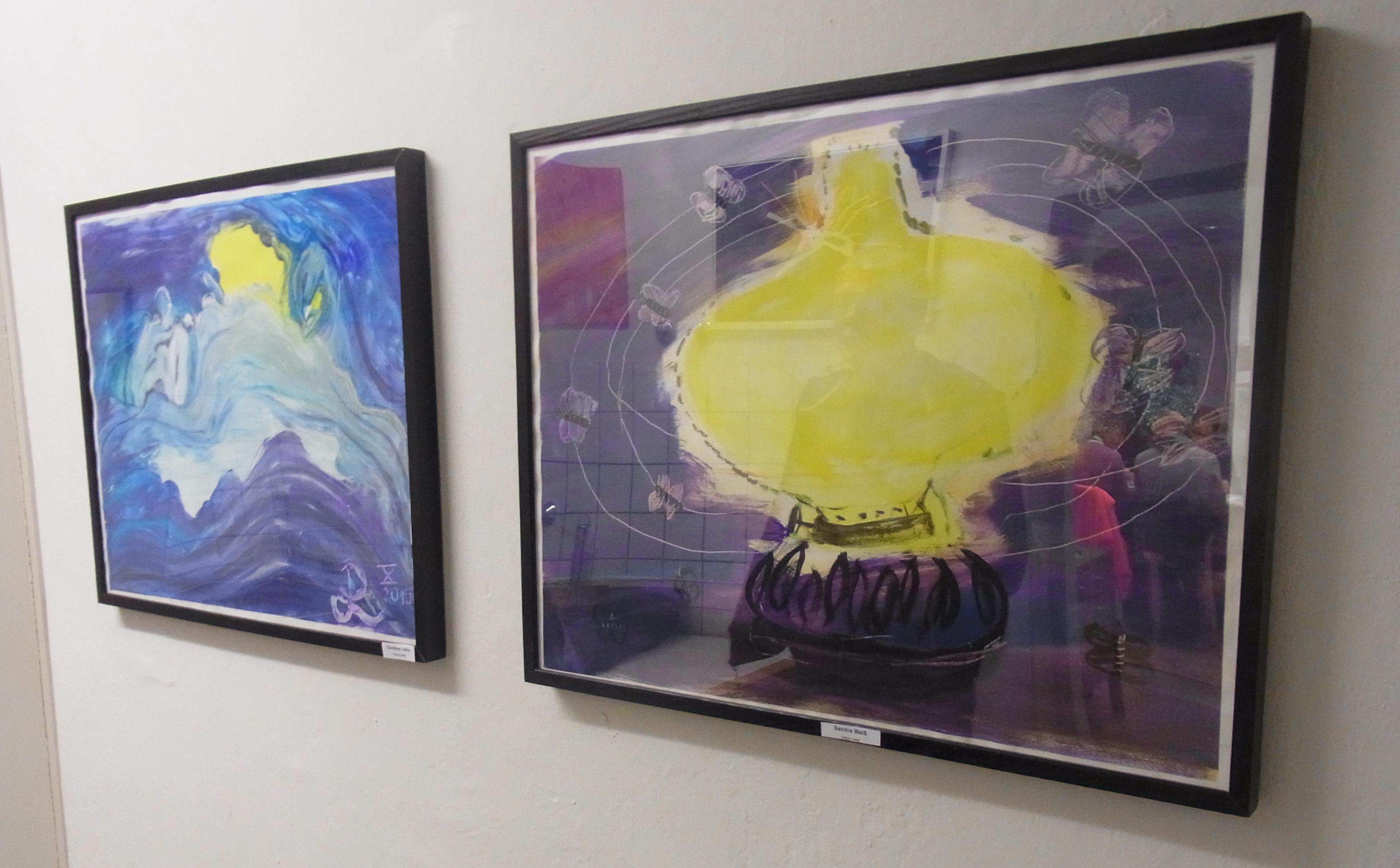 Zwei Gemälde von Sandra Weiß und Dorothee Limke. Foto: Peter Klohs