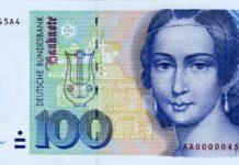Clara Schumann war auf dem 100 DM-Schein abgebildet. Bild: Deutsche Bundesbank, Frankfurt am Main, Germany
