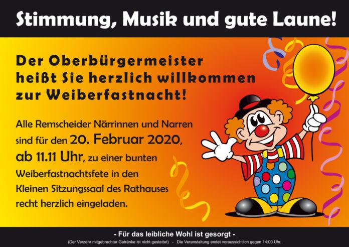 Weiberfastnacht im Remscheider Rathaus.