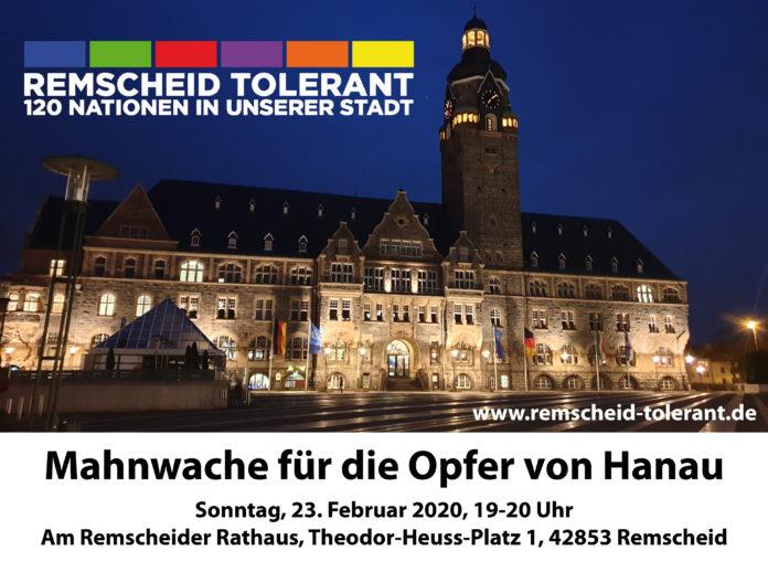 Remscheid Tolerant lädt zur Mahnwache mit Lichterkette für die Opfer des rechtsterroristischen Anschlags von Hanau.