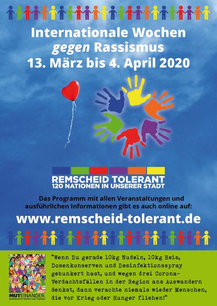 Das Plakat zu den Internationalen Wochen gegen Rassismus in Remscheid.