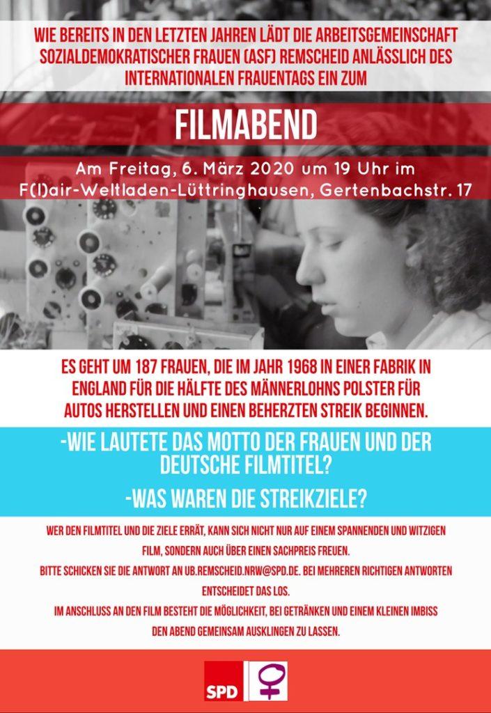 Plakat: SPD-Frauen der SPD-Remscheid laden zwei Tage vor dem Internationalen Frauentag zum Filmabend in den Flair-Weltladen in Lüttringhausen.