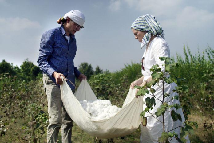 Rolf Slickers, der jeden Tag beruflich mit Textilien zu tun hat, erfährt - gemeinsam mit Silke Brüggemann - auf einer Kundenreise nach Indien, wie Baumwolle gepflückt wird. Foto: obs/ZDF/Christiane Schmidt