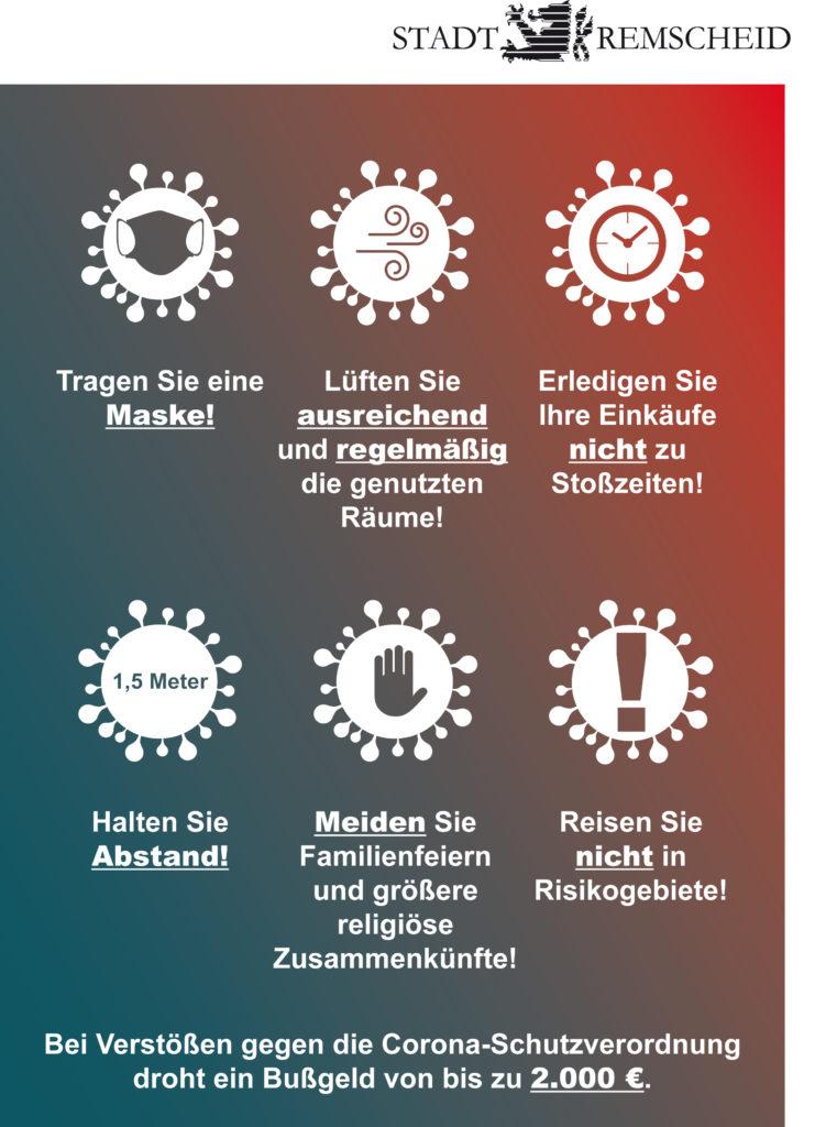 Das neue Corona-Plakat der Stadt Remscheid. Die zweite Welle muss dringend und aktiv abgewendet werden. Artwork: Stadt Remscheid