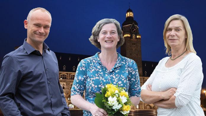 Fraktionsvorstand von B90/Die Grünen Remscheid: Vorsitzender David Schichel und seine Stellvertreterinnen Ilka Brehmer und Jutta Velte (v.l.).