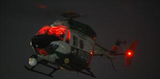 Nächtliche Überwachung mit dem Polizei-Helikopter. Symbolfoto.
