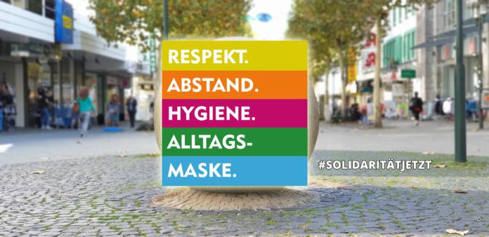 Respekt. Abstand. Hygiene. Alltagsmaske.