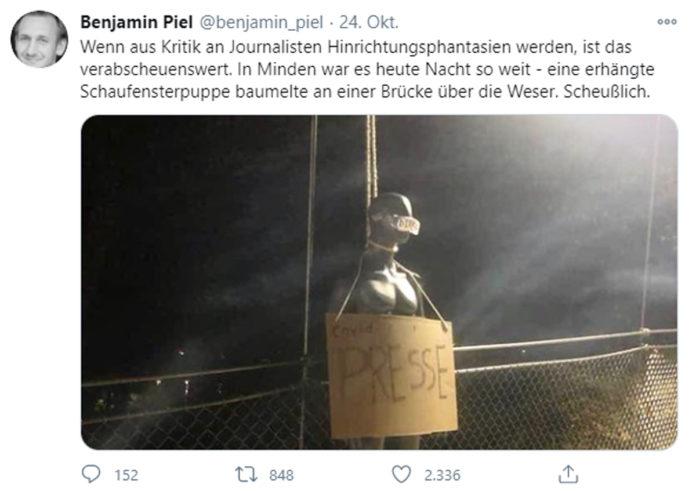 Tweet von Benjamin Piel, Chefredakteur vom Mindener Tageblatt. Quelle: https://twitter.com/benjamin_piel/status/1320028502595375109/photo/1
