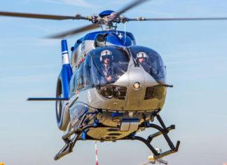 Überwachung oder Suche mit dem Polizei-Helikopter. Symbolfoto.