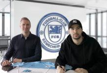 Vincenzo Lorefice, hier neben Cheftrainer Marcel Heinemann, unterschrieb beim FC Remscheid einen Vertrag bis zum 30. Juni 2022. Foto: FC Remscheid