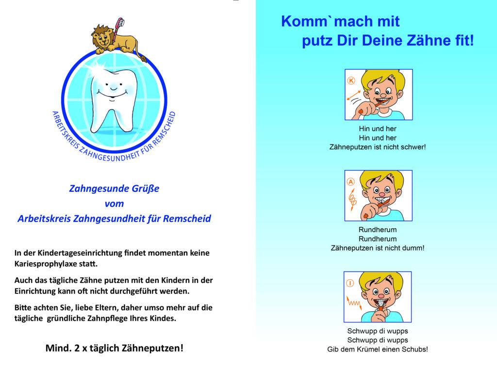 Zahnputzanleitung vom Arbeitskreis Zahngesundheit für Remscheid.