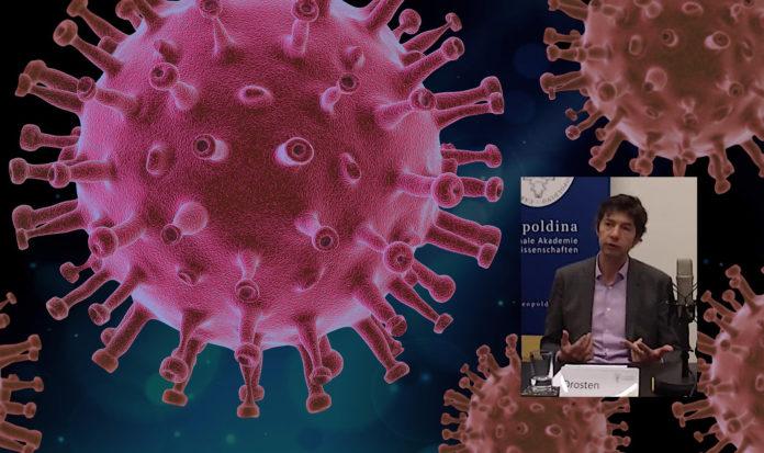 Virologe Christian Drosten und das Virus. Fotos: Science Media Center Germany und PIRO4D