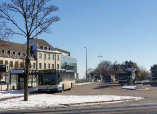 Der Friedrich-Ebert-Platz im Schnee. Foto: Sascha von Gerishem