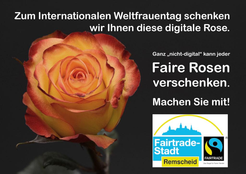 Digitale Rose zum Weltfrauentag. Grafik: Fairtrade-Town Remscheid