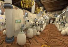 Virtueller Ostermarkt im digitalisierten Rittersaal von Schloss Burg. © Excit3D