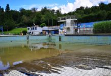 Das Freibad Eschbachtal nach der Überschwemmung. Foto: Feuerwehr Remscheid