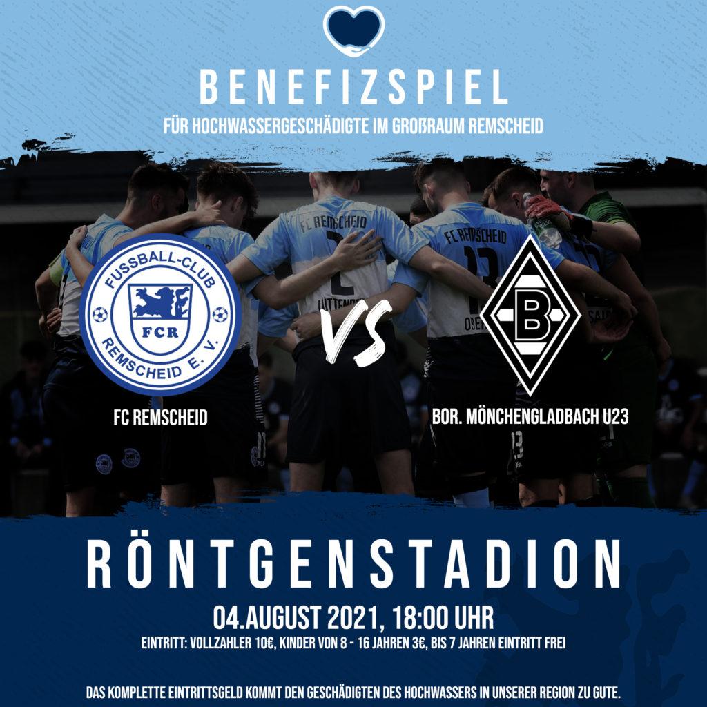 Benefizispiel für die Flutopfer zwischen dem FC Remscheid und der U23 von Borussia Mönchengladbach im Röntgen-Stadion.