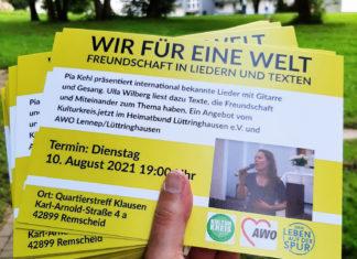 Wir für eine Welt - Eine Veranstaltung vom Kulturkreis.jetzt und der AWO Lennep-Lüttringhausen im Rahmen des Jakobusjahres 2021. Foto: Antonio Scarpino