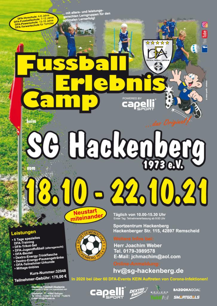 Das Fußballcamp der SG Hackenberg findet in den Herbstferien vom 18. bis 22. Oktober 2021 statt. Poster: www.sg-hackenberg.com