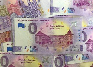 Zum 100. Geburtstag vom Rathaus Wuppertal-Barmen gibt Wuppertal Marketing einen 0-Euro-Schein heraus. Foto: Wuppertal Marketing