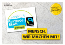 Aufkleber der Fairtrade-Town Solingen: Mensch, wir machen mit! ©Fairtrade-Stadt Solingen