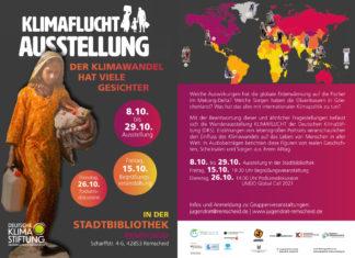"""Die Ausstellung """"Klimaflucht"""" ist vom 8. bis 29. Oktober 2021 im Foyer der Stadtbibliothek in der Scharffstraße 4-6 in Remscheid ausgestellt."""